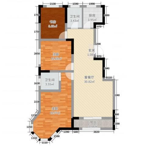 大唐东方盛世3室2厅2卫1厨93.00㎡户型图
