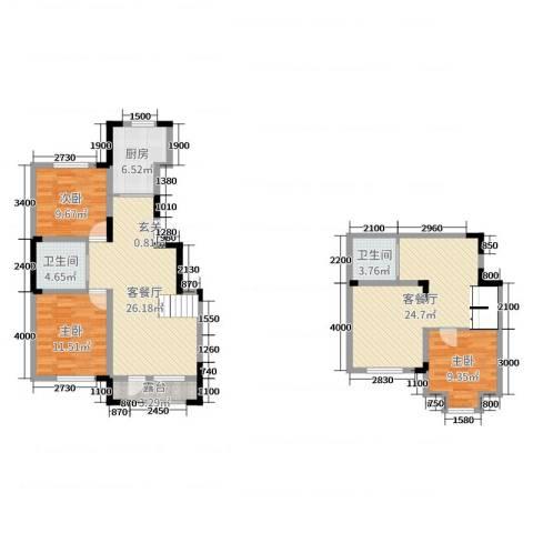 大唐东方盛世3室4厅2卫1厨99.63㎡户型图
