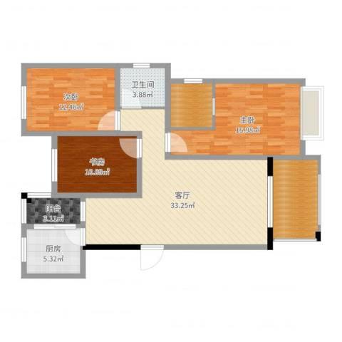 世纪新城(蒋先生)3室1厅1卫1厨120.00㎡户型图