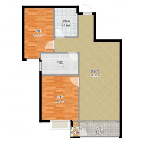 世纪学庭2室2厅1卫1厨83.00㎡户型图