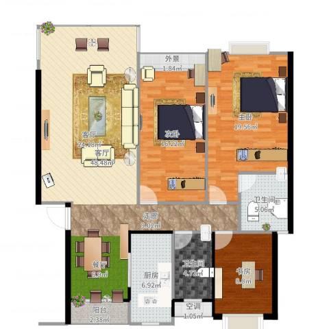 半山家园3室1厅2卫1厨144.00㎡户型图