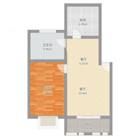 东方滨港园1室1厅1卫1厨68.00㎡户型图