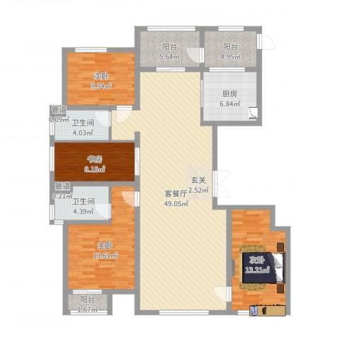 万正广场4室2厅2卫1厨121.19㎡户型图