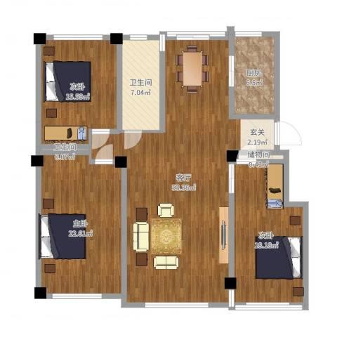 昌盛经典二期御花苑3室1厅2卫1厨155.00㎡户型图