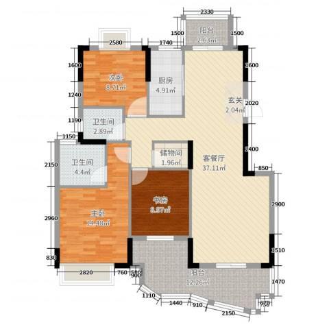 圣特立国际花园3室2厅2卫1厨121.00㎡户型图
