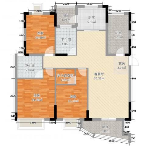圣特立国际花园3室2厅2卫1厨129.00㎡户型图