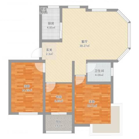 锦汇苑3室1厅1卫1厨107.00㎡户型图
