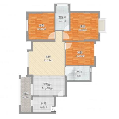 书香门第3室2厅2卫1厨114.00㎡户型图