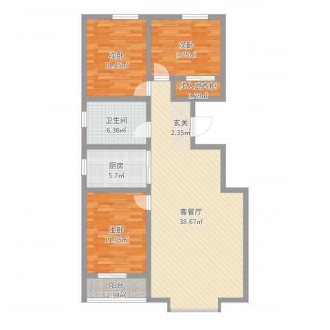 恒顺世纪中心3室2厅1卫1厨111.00㎡户型图