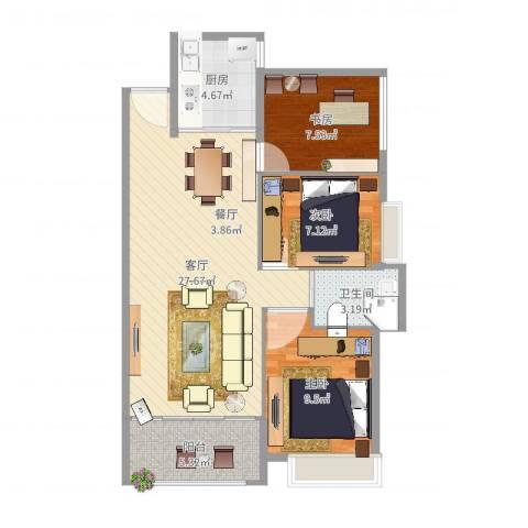 中骏蓝湾香郡3室1厅1卫1厨65.00㎡户型图