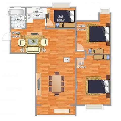 欣泰盛和苑3室2厅1卫1厨100.00㎡户型图