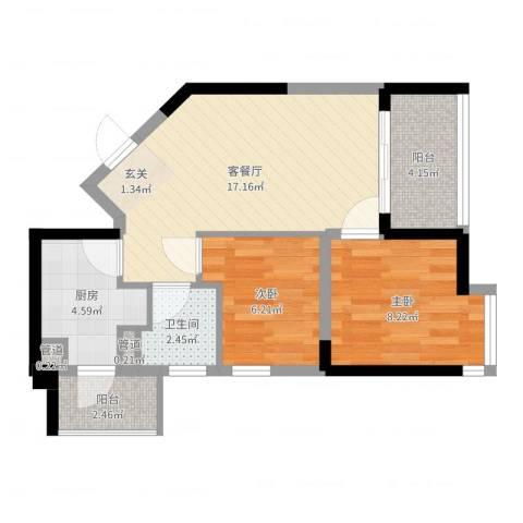 碧桂园十里金滩2室2厅1卫1厨57.00㎡户型图