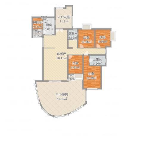湘江豪庭4室2厅2卫1厨222.00㎡户型图