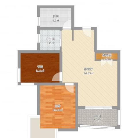 吉富绅花园2室2厅1卫1厨75.00㎡户型图