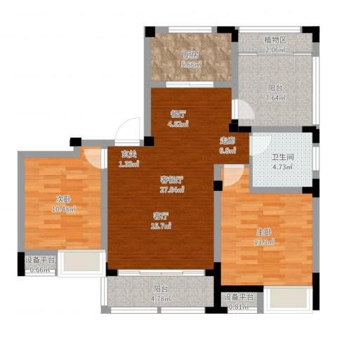 景瑞理想之光2室2厅1卫1厨77.15㎡户型图