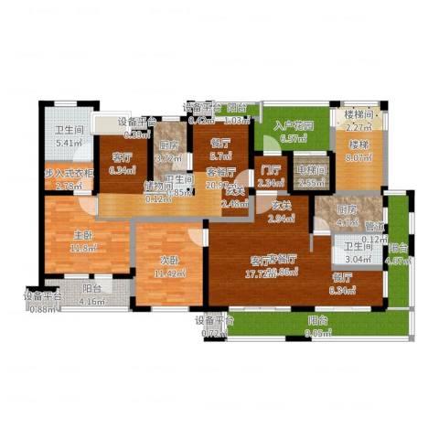 景瑞理想之光2室4厅3卫2厨132.67㎡户型图