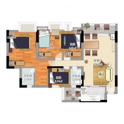 逸涛居4室2厅2卫1厨90.00㎡户型图