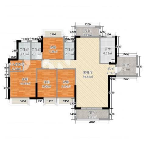 海伦春天4室2厅3卫1厨141.00㎡户型图