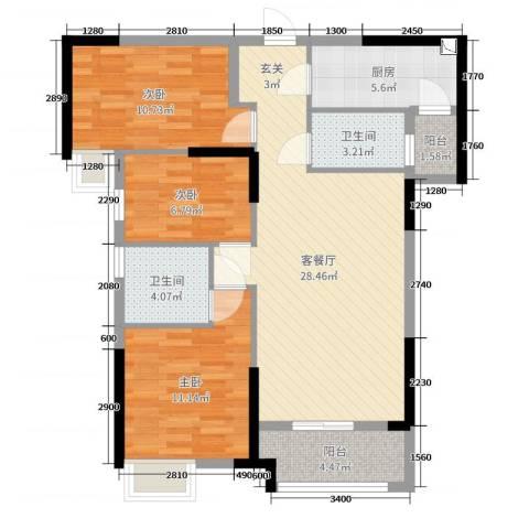 海伦春天3室2厅2卫1厨102.00㎡户型图