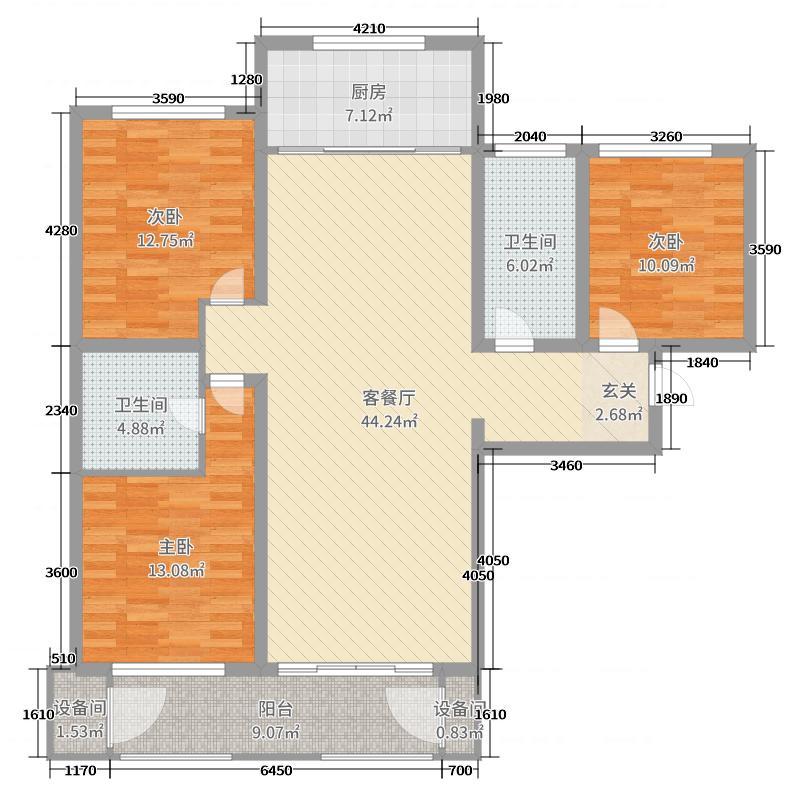 祥顺佳园136.98㎡A1反三居户型3室3厅2卫1厨