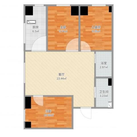 华都文郡3室1厅1卫1厨106.00㎡户型图
