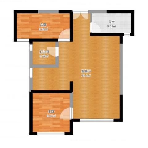 嘉逸岭湾2室2厅1卫1厨77.00㎡户型图