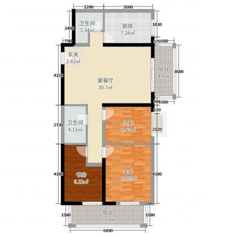 庆阳观邸东南户3室2厅2卫1厨122.00㎡户型图