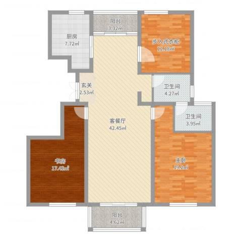 国信上城学府2室2厅2卫1厨144.00㎡户型图