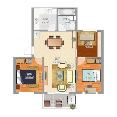 藕池新村3室1厅1卫1厨85.00㎡户型图