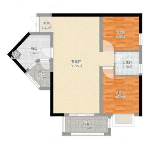 汇豪大厦2室2厅1卫1厨87.00㎡户型图