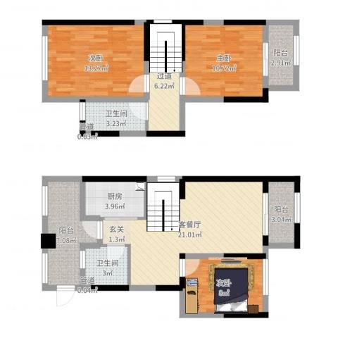 华润置地橡树湾3室2厅2卫1厨103.00㎡户型图