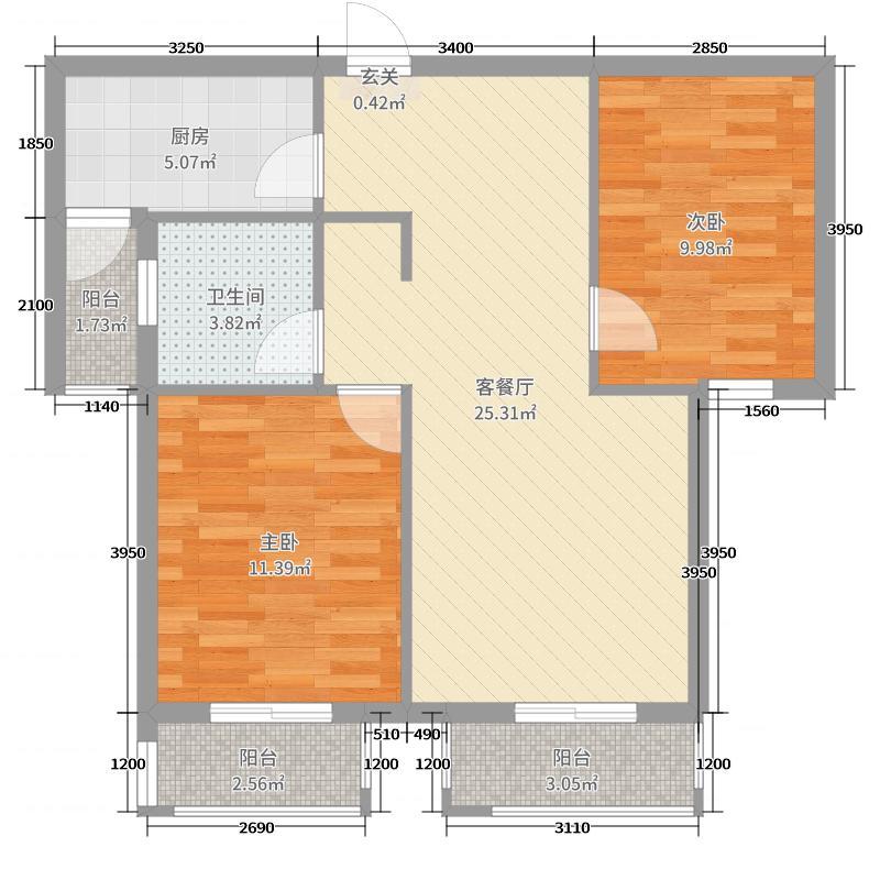 泺亨国际居住区88.00㎡9#B户型2室2厅1卫1厨