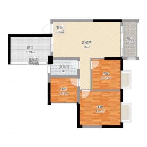 泰禾・江山美地3室2厅1卫1厨89.00㎡户型图