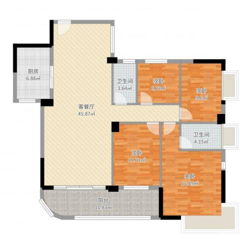 富逸上苑4室2厅2卫1厨147.00㎡户型图