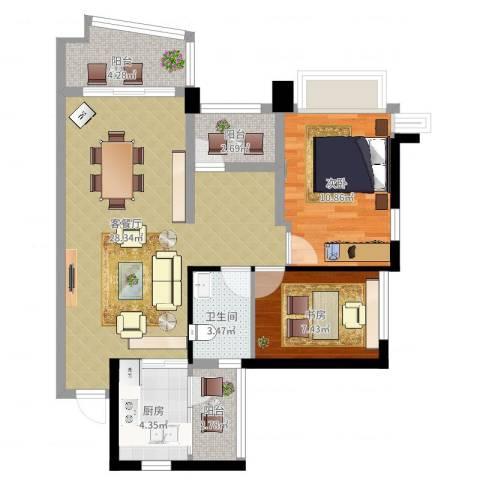 雅居乐曼克顿山2室2厅1卫1厨93.00㎡户型图