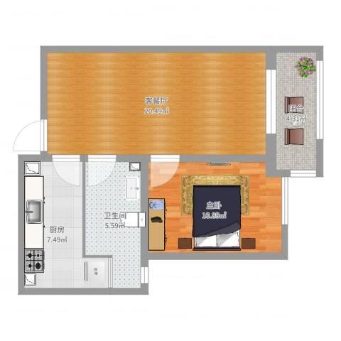 铂悦山1室2厅1卫1厨61.00㎡户型图