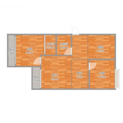 蓝波湾2室2厅2卫1厨72.00㎡户型图