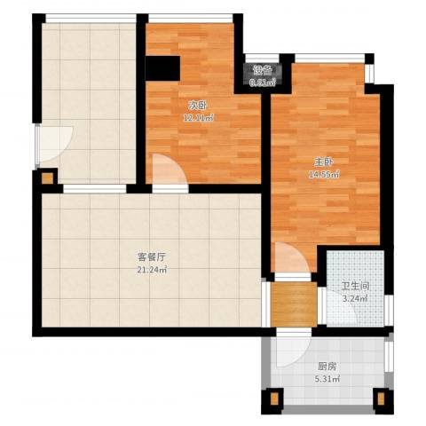荔城花园2室2厅2卫1厨93.00㎡户型图