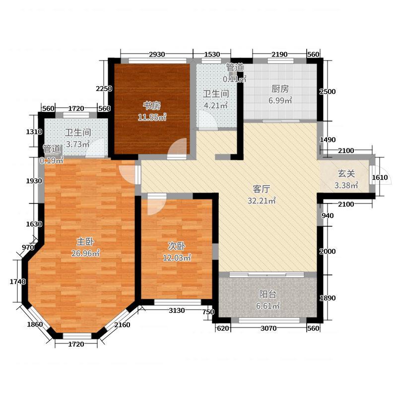 海门中南世纪城131.00㎡98#楼A2户型3室3厅2卫1厨
