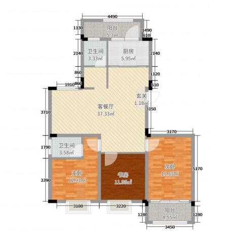 格林春天・野花园二期3室2厅2卫1厨126.00㎡户型图