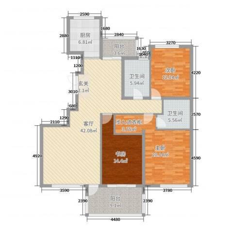 香格里3室1厅2卫1厨119.86㎡户型图