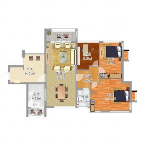 滨江一号3室2厅1卫1厨144.00㎡户型图