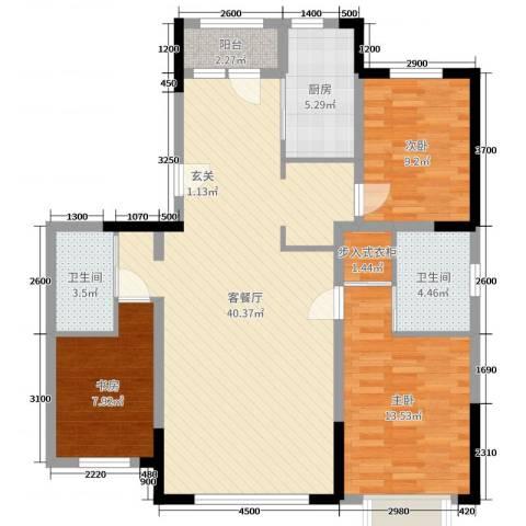新星宇和源二期塞纳3室2厅2卫1厨126.00㎡户型图