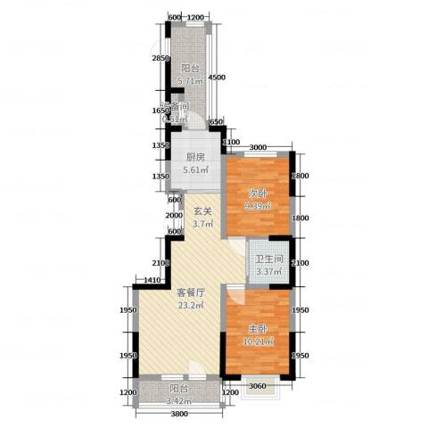 新星宇和源二期塞纳2室2厅1卫1厨88.00㎡户型图