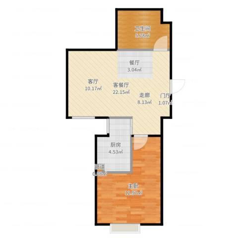 首创悦树汇1室2厅1卫1厨57.00㎡户型图