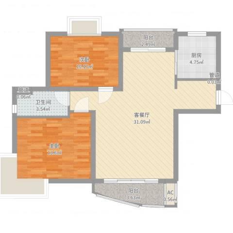 三湘盛世花园2室2厅1卫1厨87.00㎡户型图