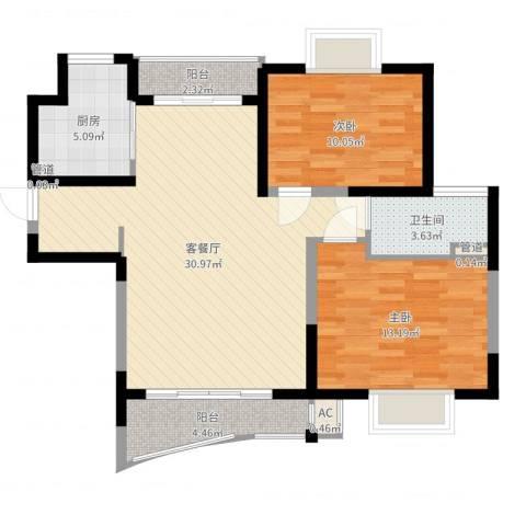 三湘盛世花园2室2厅1卫1厨88.00㎡户型图