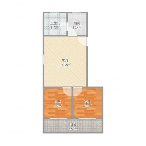 牡丹江路244弄小区2室1厅1卫1厨52.00㎡户型图