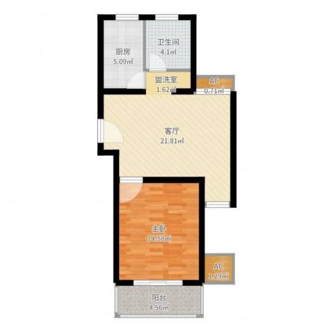 上大阳光乾和园1室1厅1卫1厨65.00㎡户型图