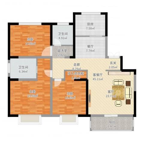高新华府3室2厅2卫1厨120.61㎡户型图